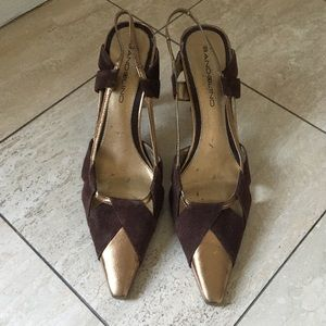 BANDOLINO brown suede/leather sling backs Sz 7.5
